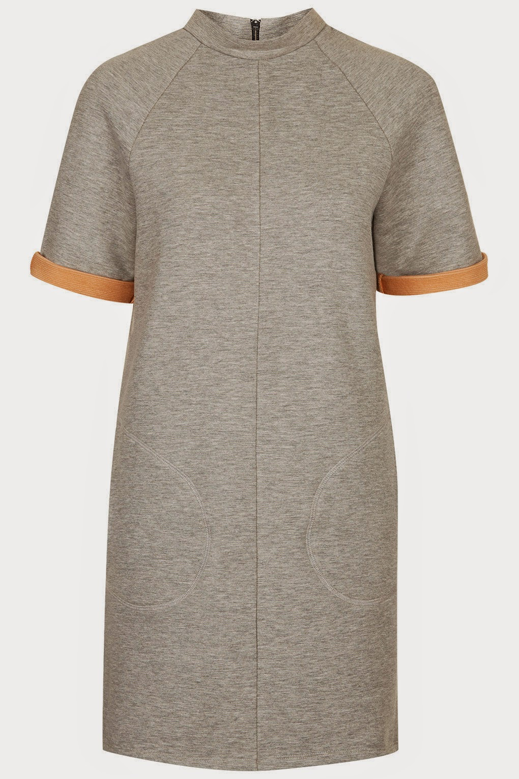 grey contrast sleeve dress