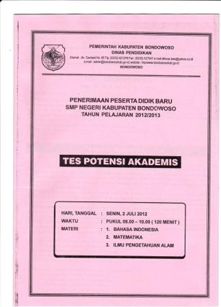 Download Soal Tes Potensi Akademis (TPA) PPDB 2012