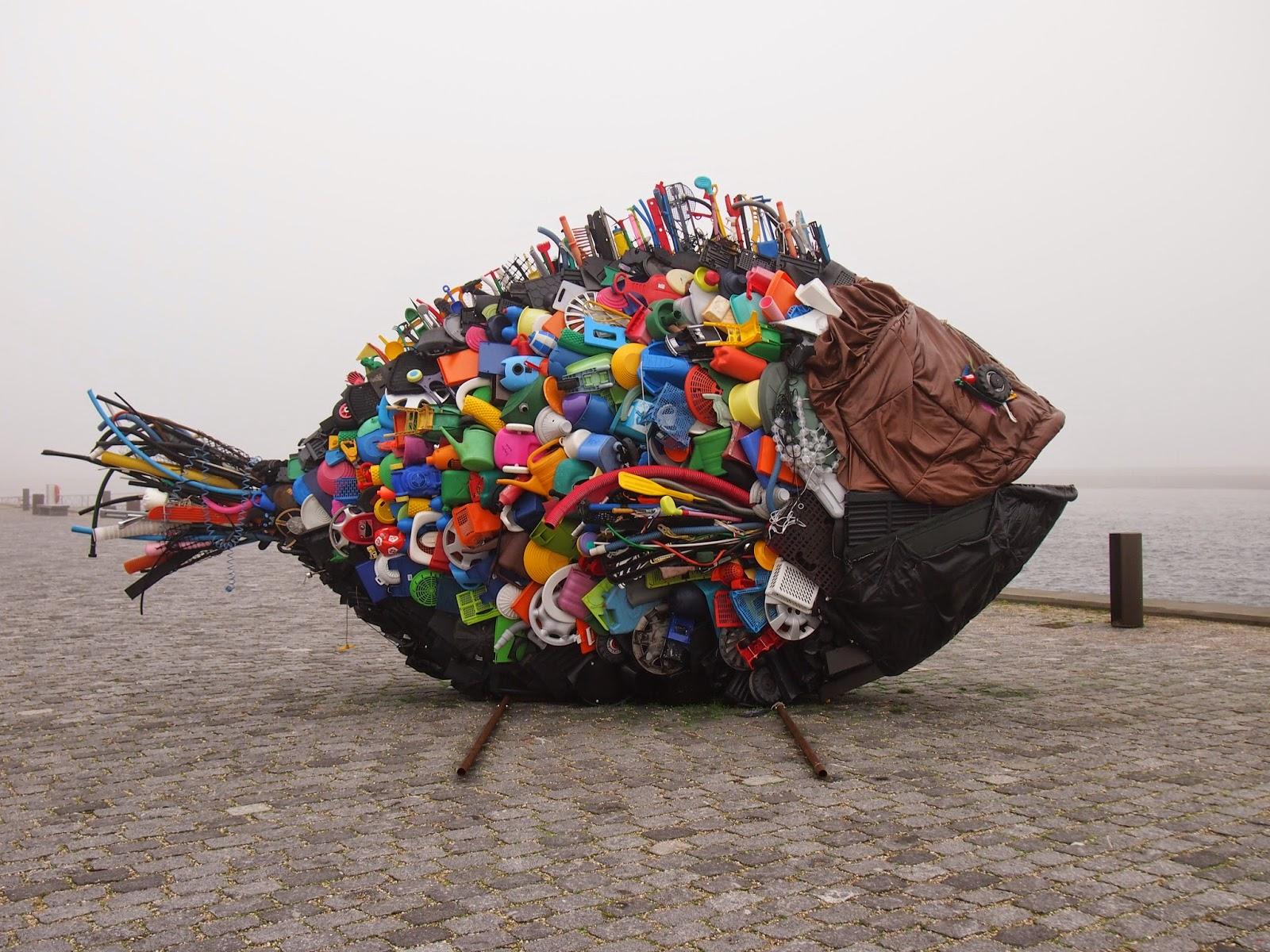 fish sculpture made of trash in helsingor