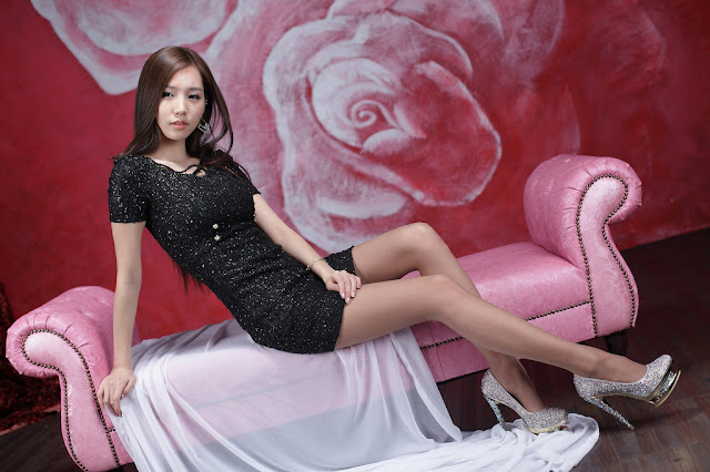 1 Lee Ji Min - Sparkle Black Mini Dress-very cute asian girl-girlcute4u.blogspot.com