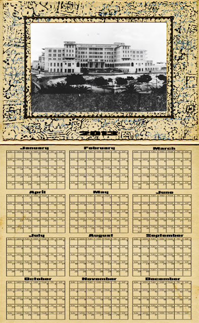 A 2013 yearly calendar template for photoshop, with photo insert on top and a mid-period art deco design. Vintage fabric background completes the look.