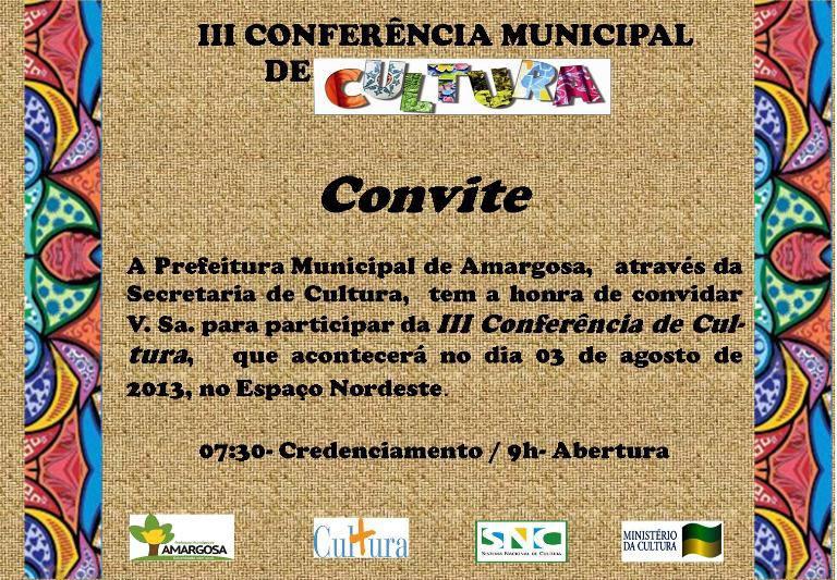 III Conferência Municipal de Cultura de Amargosa.