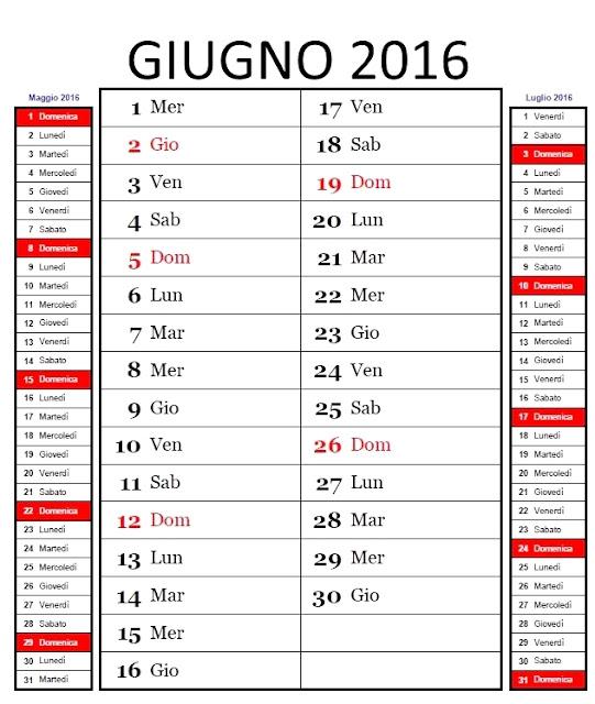 Calendario mensile 2016 - giugno