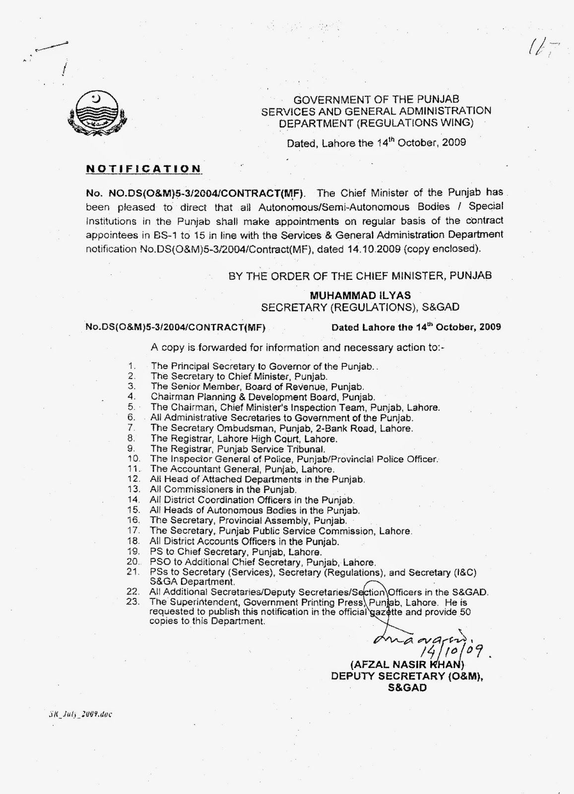 REGULARIZATION OF ALL CONTRACT EMPLOYEES OF PUNJAB - PUNJAB TEACHERS ...