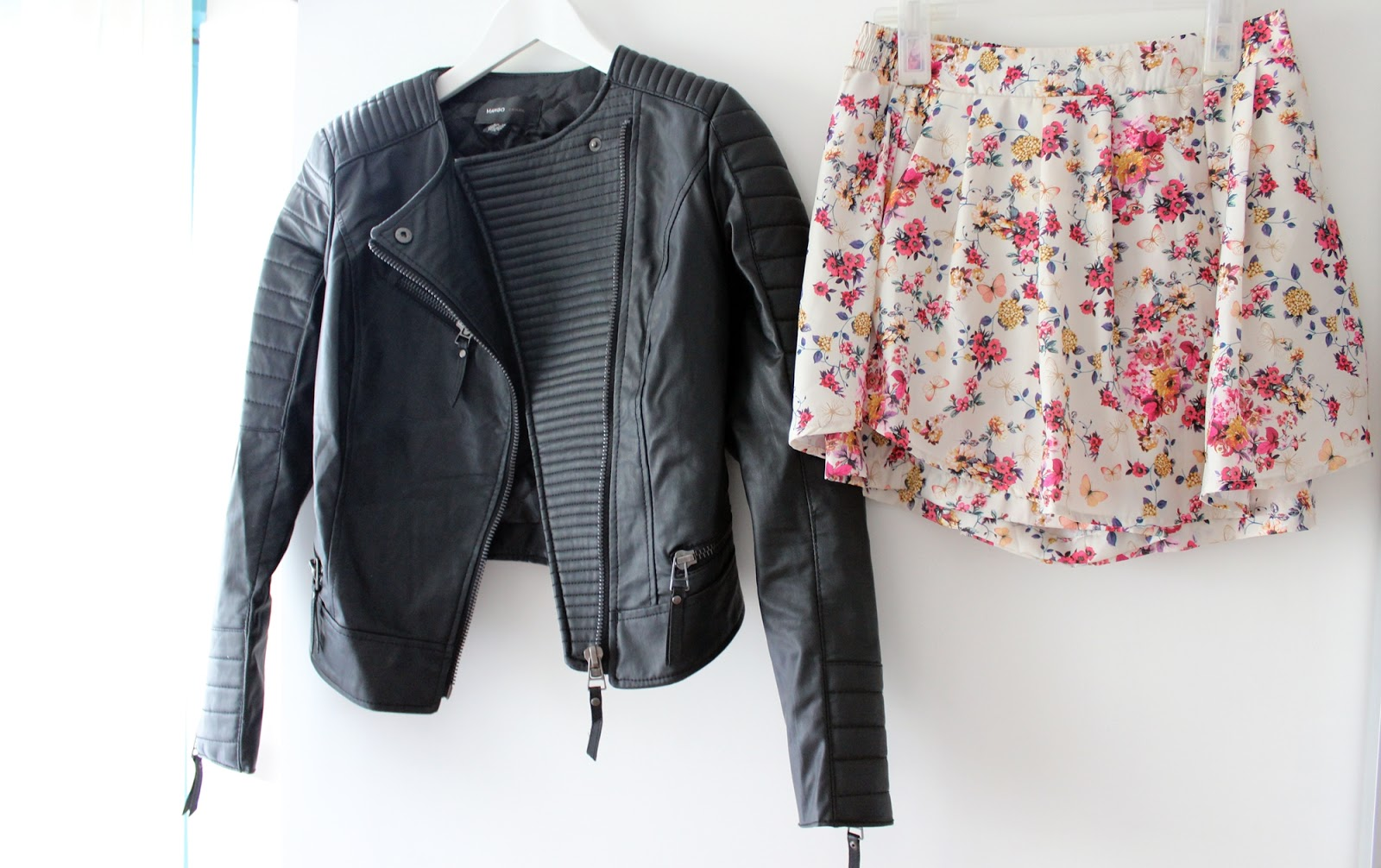 Barcelona shopping haul stradivarius mango skorts flowerprint leatherjacket