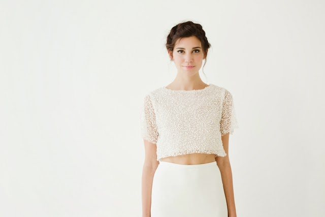 crop top wedding dress separates by sarah seven at the dress theory