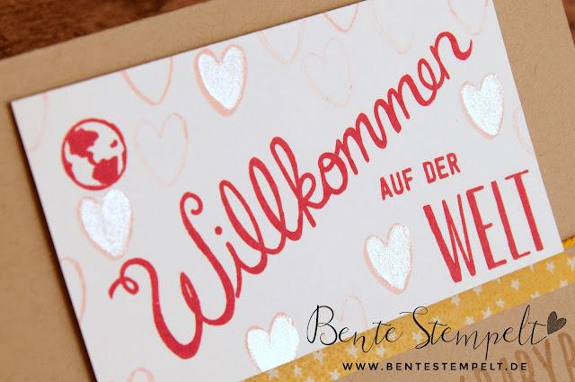 Stampin' Up! Herzlich Willkommen Stempelset Frühjahrskatalog 2016 Sneak Peek Babykarte Wik of Stella Glitzerstift Glitzerpinsel