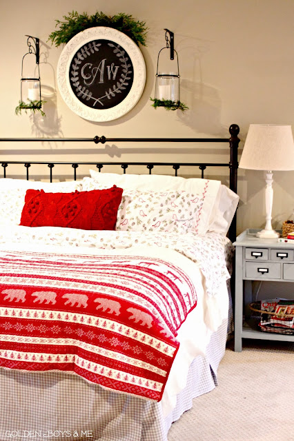 Christmas master bedroom with Target flannel sheets-www.goldenboysandme.com