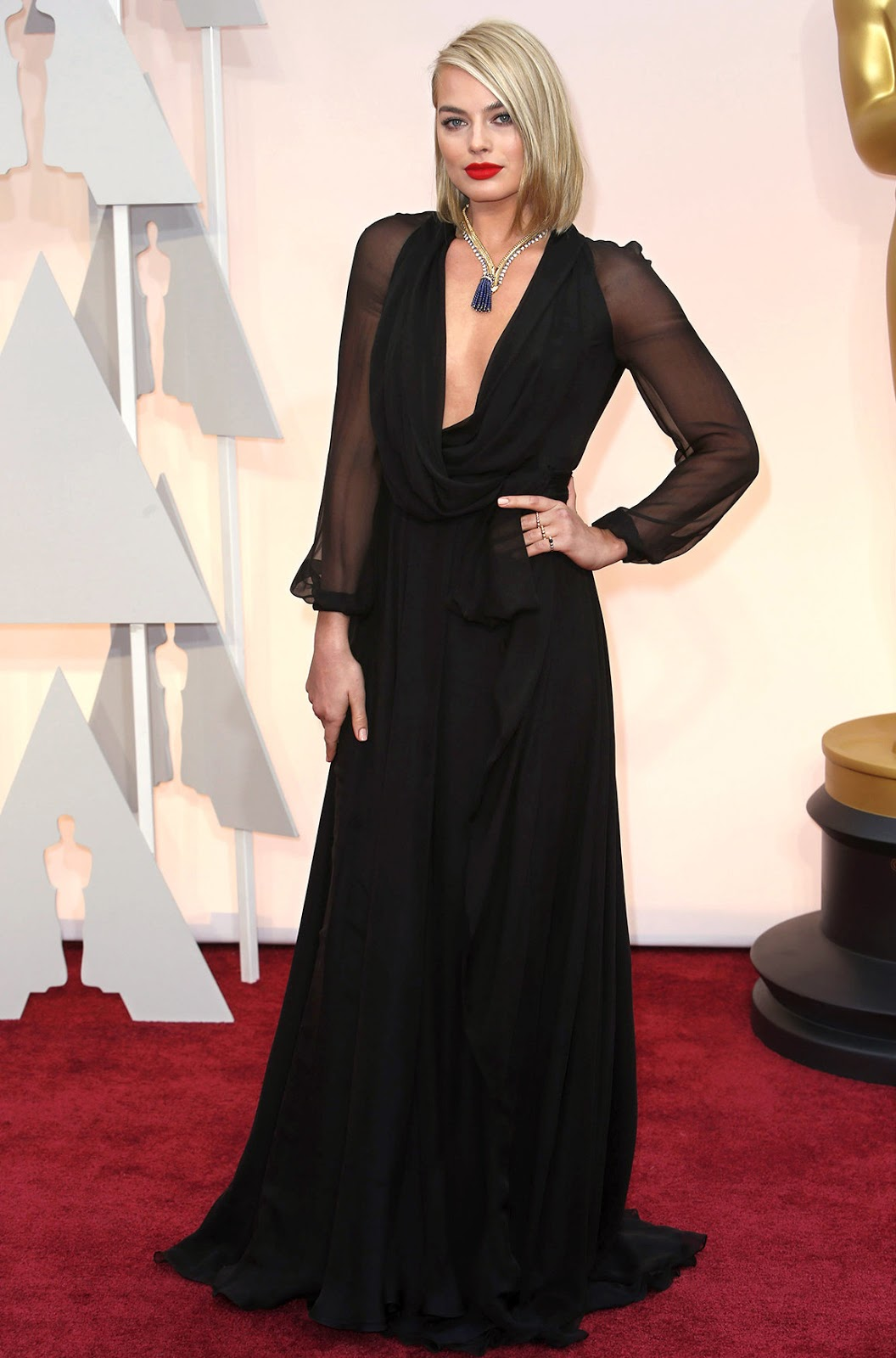 Margot Robbie in Saint Laurent at the Oscars 2015
