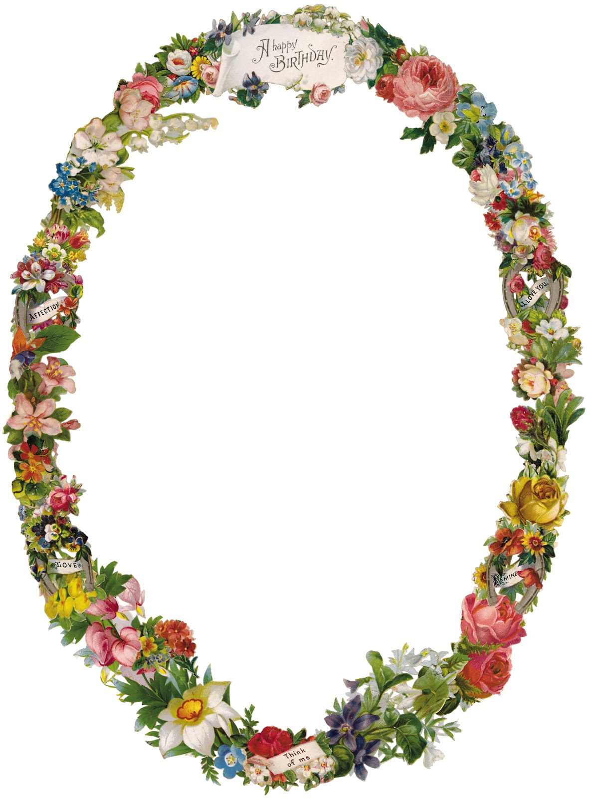 Victorian Flower Borders and Frames Birthday