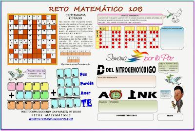 Retos Matemáticos, Retos por la Paz, Semana por la Paz, Paz, Problemas matemáticos, Desafíos Matemáticos, Problemas de lógica, Jeroglíficos