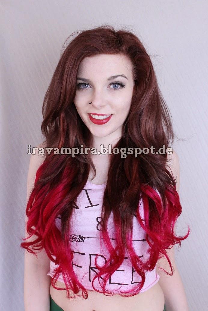 Haare von braun auf pink