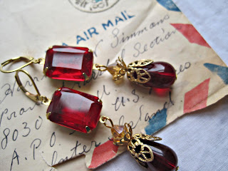 red, ruby, vintage assemblage, assemblage earrings