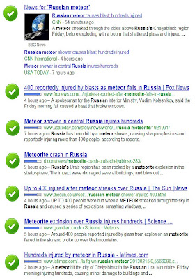 Google search for 'Russian meteor'