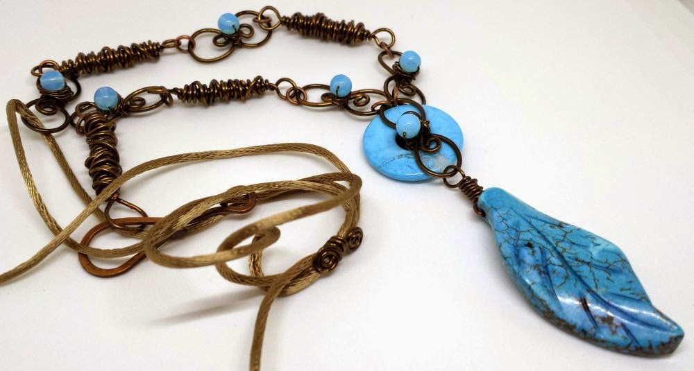 Circle of Love, CC7A - turquoise components, copper, wire wrapping, ooak jewelry :: All Pretty Things