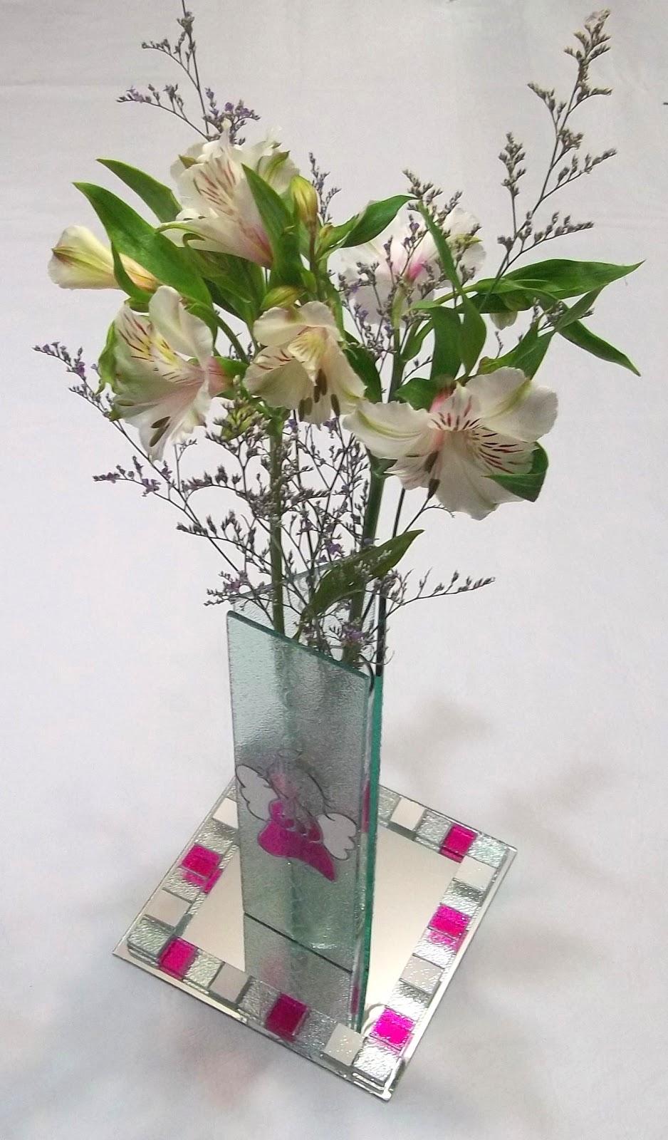 Entrevidrios centros de mesa floreros con base de espejo - Centros de mesa cristal ...