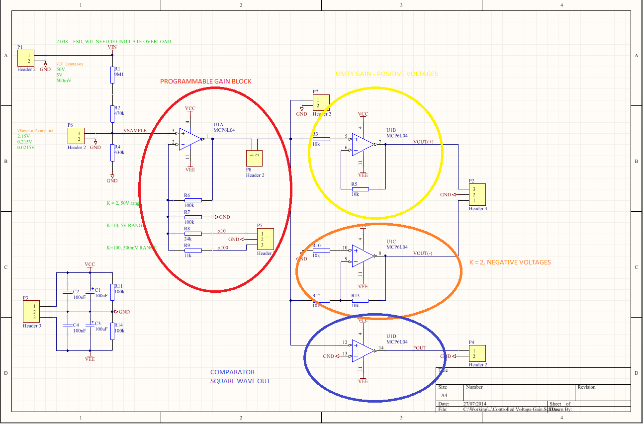 Ludzinc Lm324 Opamp Voltage Comparator Tinker Projects The Yellow Block Is A Unity Gain Buffer That Will Feed One Adc Channel Positive Parts Of Test Waveform Only Course For This I Was Going To