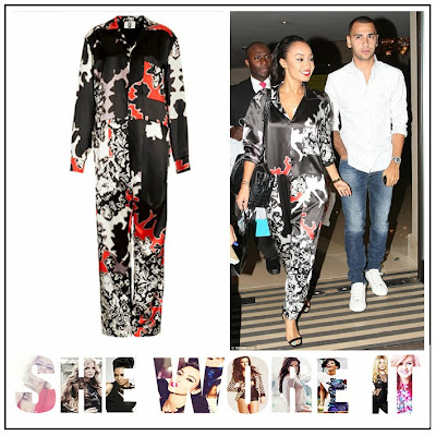 Little Mix, Leigh Anne Pinnock,  Topshop, Black, Red, White, Abstract  Print, Printed, Satin, Oversized, Jumpsuit, Pocket Detail, Collar Detail