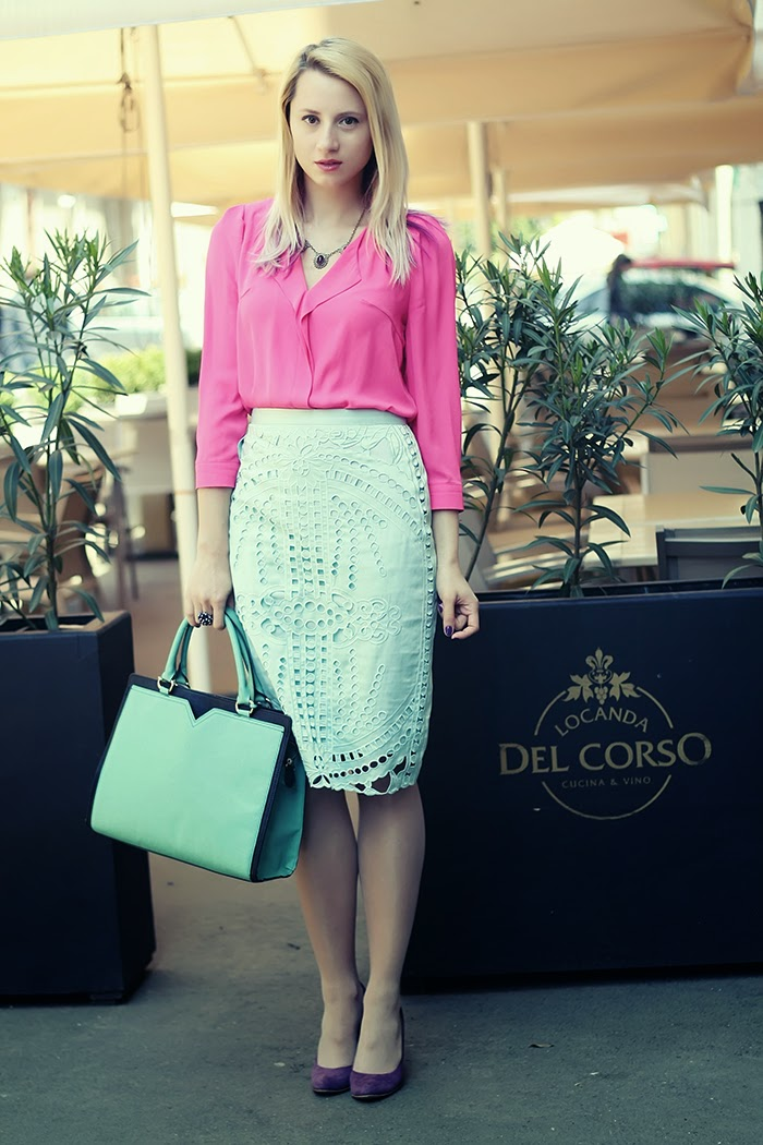 pink nowistyle bouse mint H&M perforated skirt purple pumps mint bag