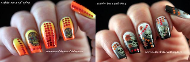 skull dia de los muertos nail art