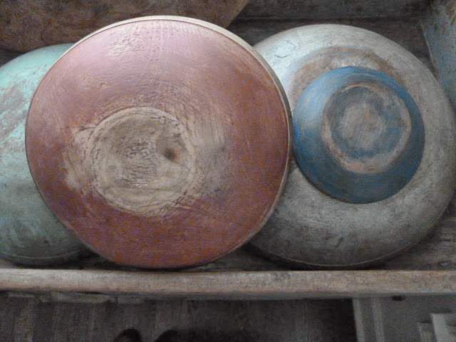 Painted Red and Blue Wood Bowls