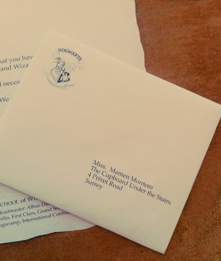 carta de Hogwarts personalizada detalle sobre