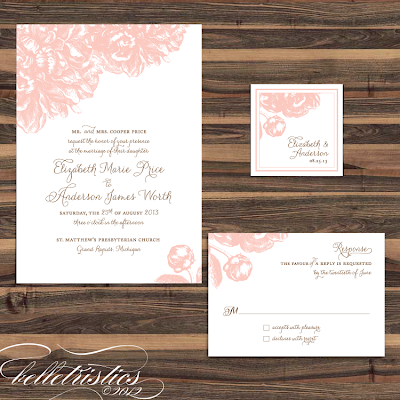 pink peony sweet romantic printable wedding print your own wedding invitation design
