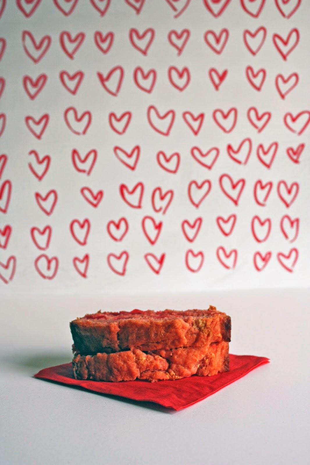 hearts vegan maraschino cherry quick bread red napkin