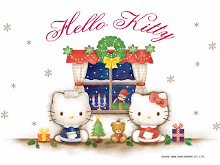 Hello Kitty Christmas desktop wallpaper background 1024x768