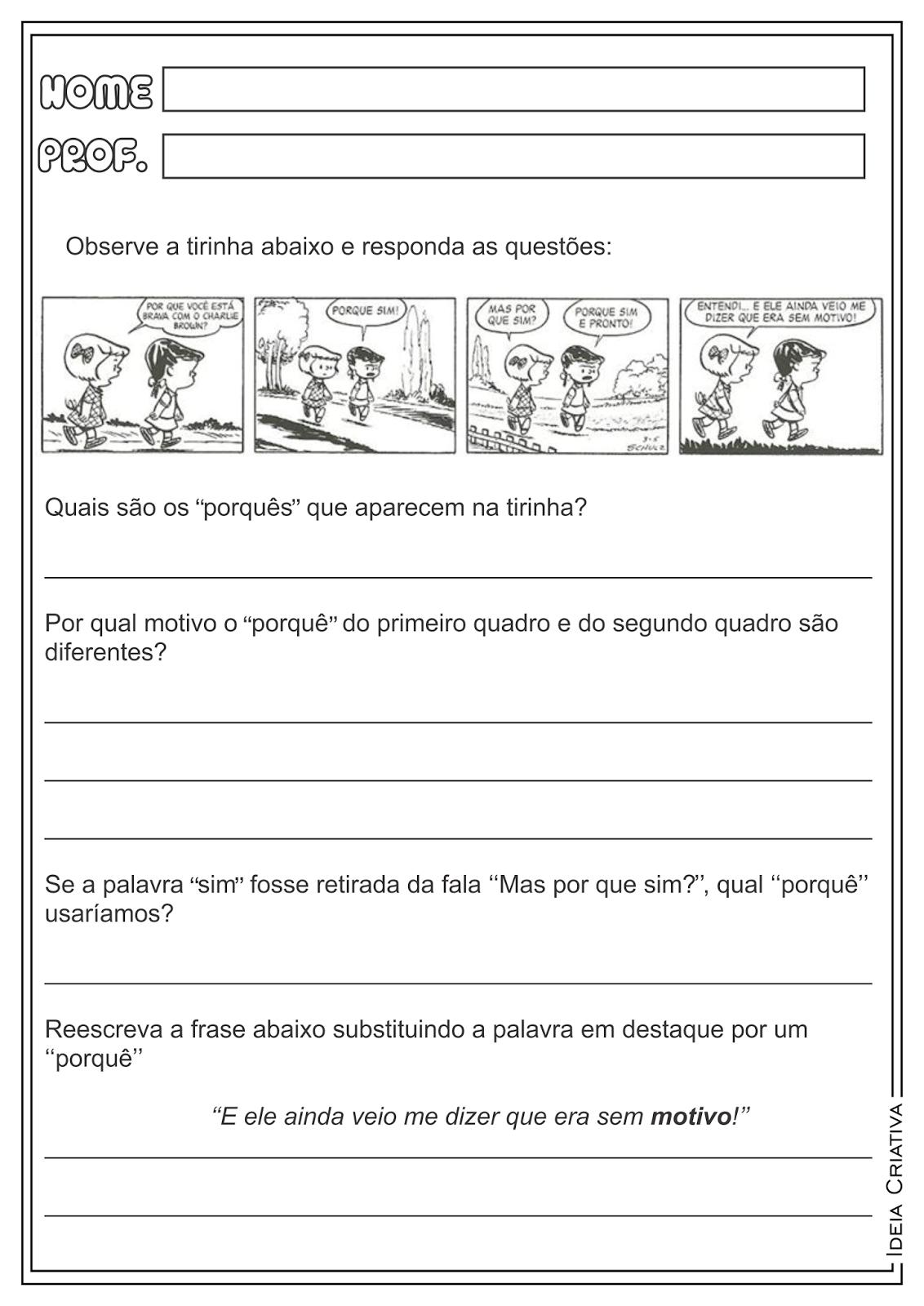 Atividades Uso dos porquês Língua Portuguesa Gramática para Ensino Fundamental