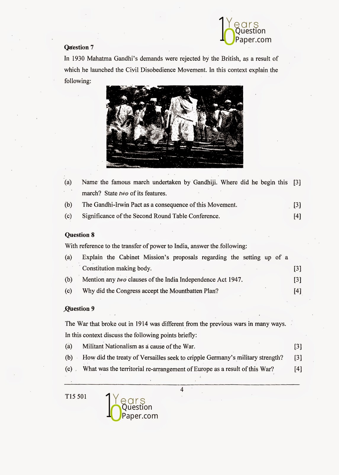 icse 2015 class 10th History & civics H.C.G Paper 1 question paper