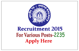 Indian Railway Recruitment 2015 for the Junior Engineers and various post RRB – 2235 vacancies