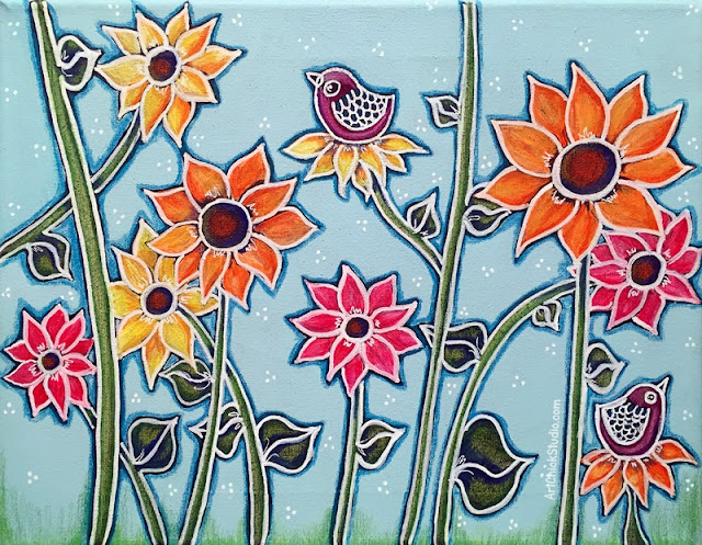 Birds and Flowers Mixed Media