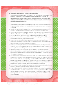 Middle and high School English Lesson Plans- Novel Project Essay