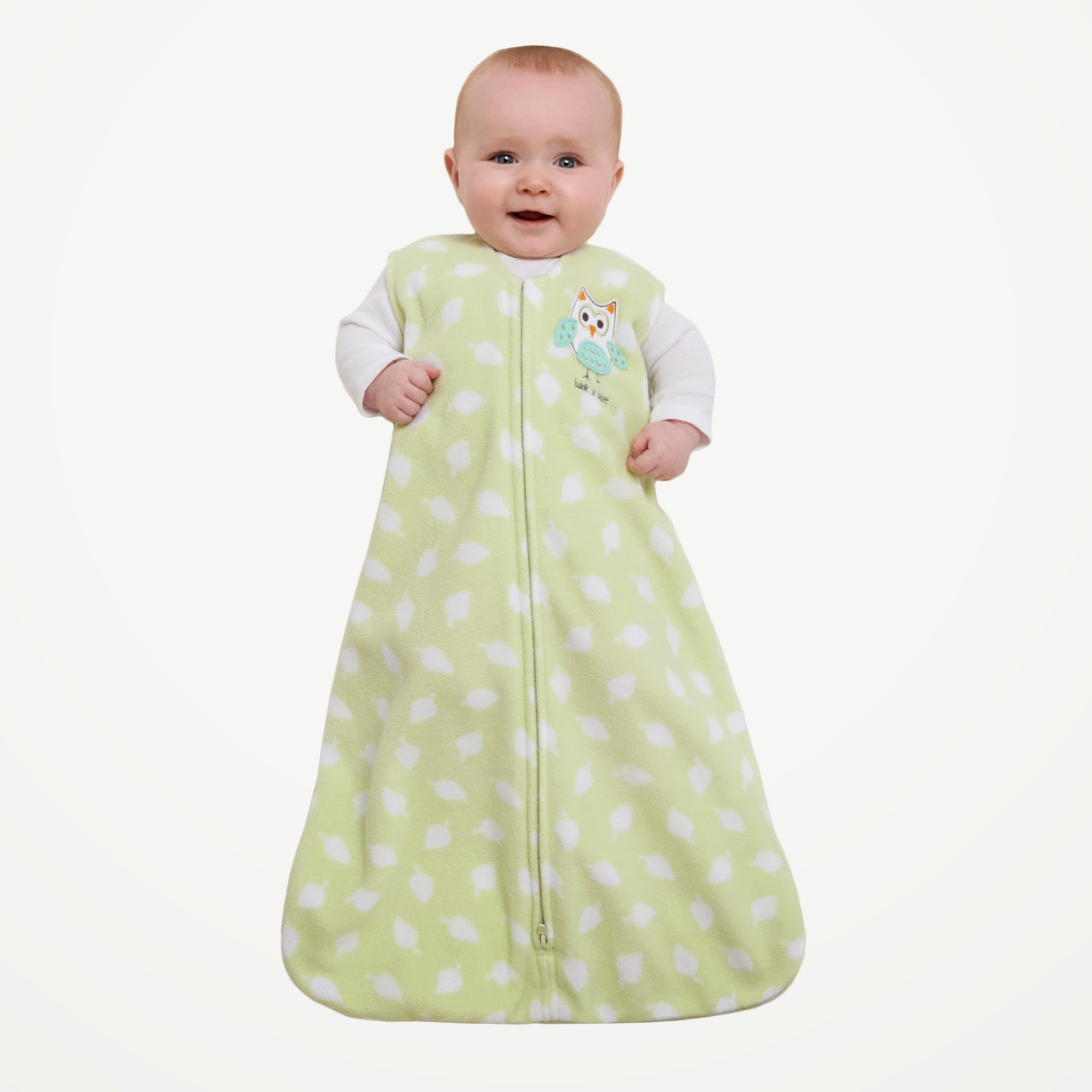 Baby Wearing Green Wearable Blanket
