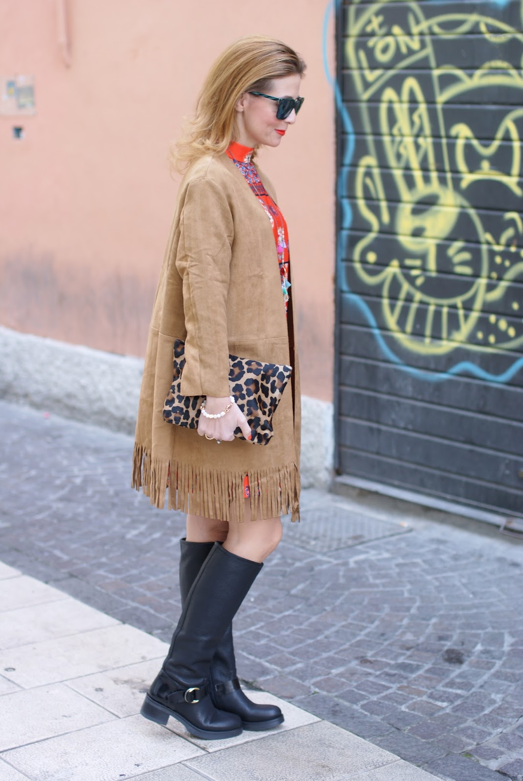 Suedette fringed coat from Yoins and Lorenzo Mari boots on Fashion and Cookies fashion blog, fashion blogger style