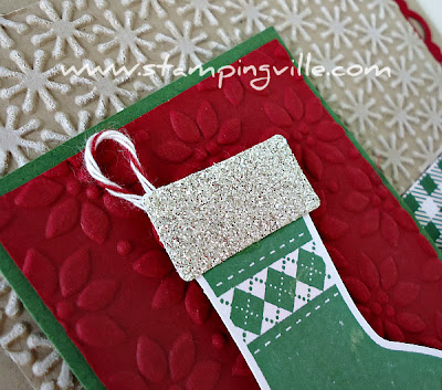 Detail of Stampin' Up! Stitched Stockings Christmas Card