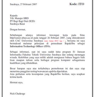 Contoh job application letter bahasa inggris - Affordable Price