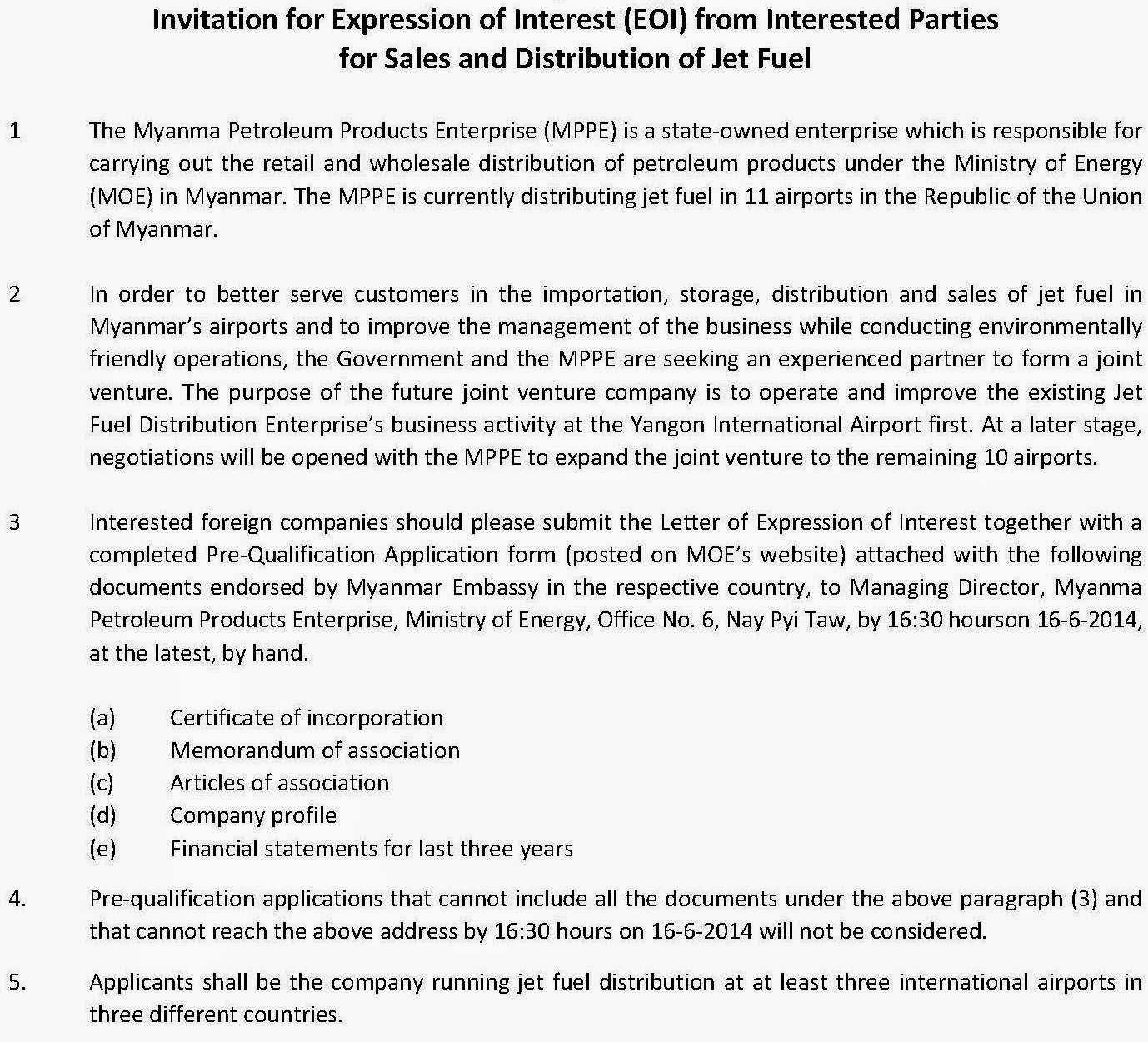 Invitation for expression of interest eoi for sales invitation for expression of interest eoi for sales distribution of jet fuel myanmar business network thecheapjerseys Image collections