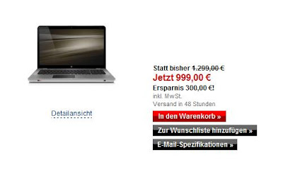 High-End-Notebook HP ENVY 17-2110eg für 999 Euro inklusive Versandkosten