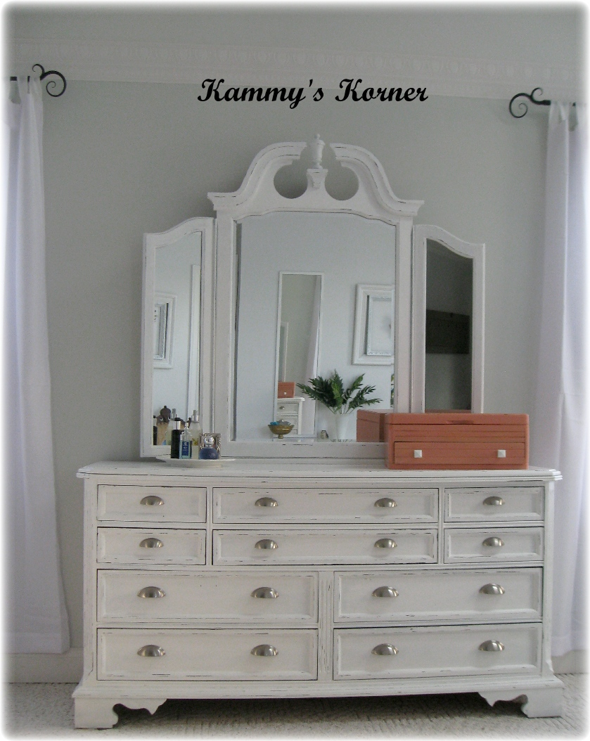 Kammy 39 s korner i did it painted my dark cherry finish bedroom set dresser reveal for How to paint my bedroom furniture