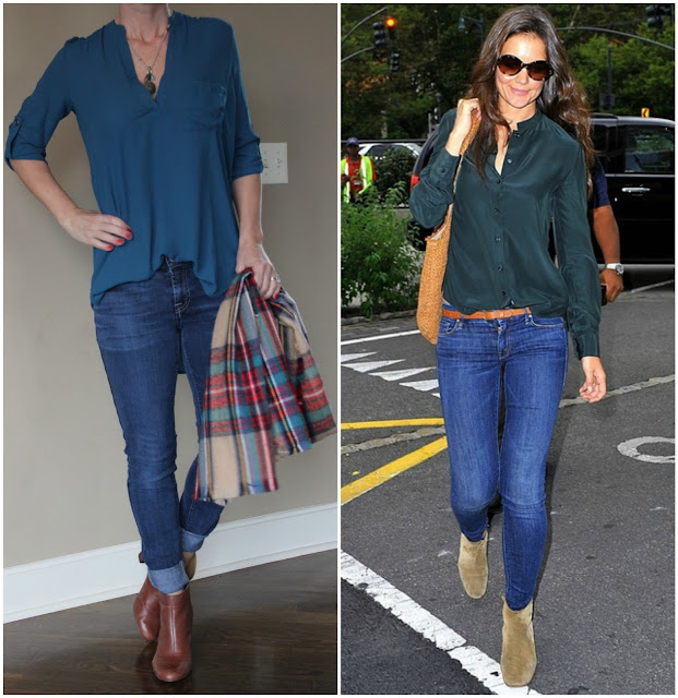 This summer I purchased this sleeveless Lush blouse and I liked it so much that I just picked up this new blouse with sleeves (on sale for $19, regular $42 through 11/30). I decided to pair it with my skinny jeans and booties like this look from Katie Holmes, but I also plan to wear it with my new faux leather leggings and black heeled booties (both on major sale through 11/30). I think I need to add a tan tote to this look and I added some possible options below. fashion blogger,
