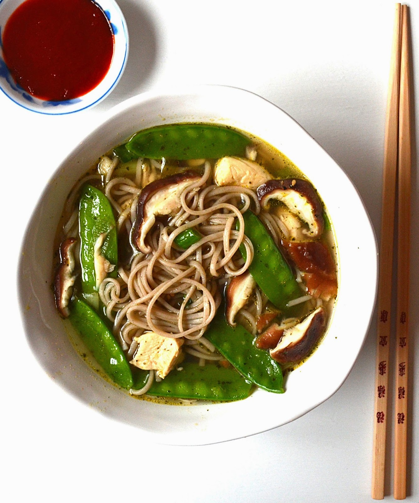 Sew French: Soba Noodle Soup with Mushrooms & Snow Peas