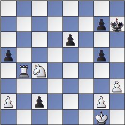 Posición de la partida de ajedrez Ortueta - Sanz después de 35. c2