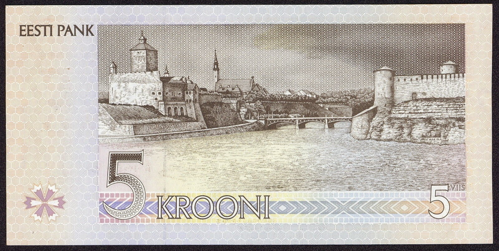 Estonia banknotes 5 krooni note, Narva Hermann Castle and Ivangorod Fortress
