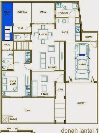 sketsa rumah empat 4 kamar tidur