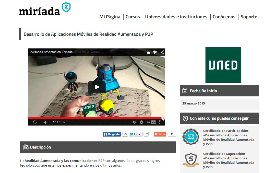 Curso Online Desarrollo de Aplicaciones Móviles de Realidad Aumentada y P2P