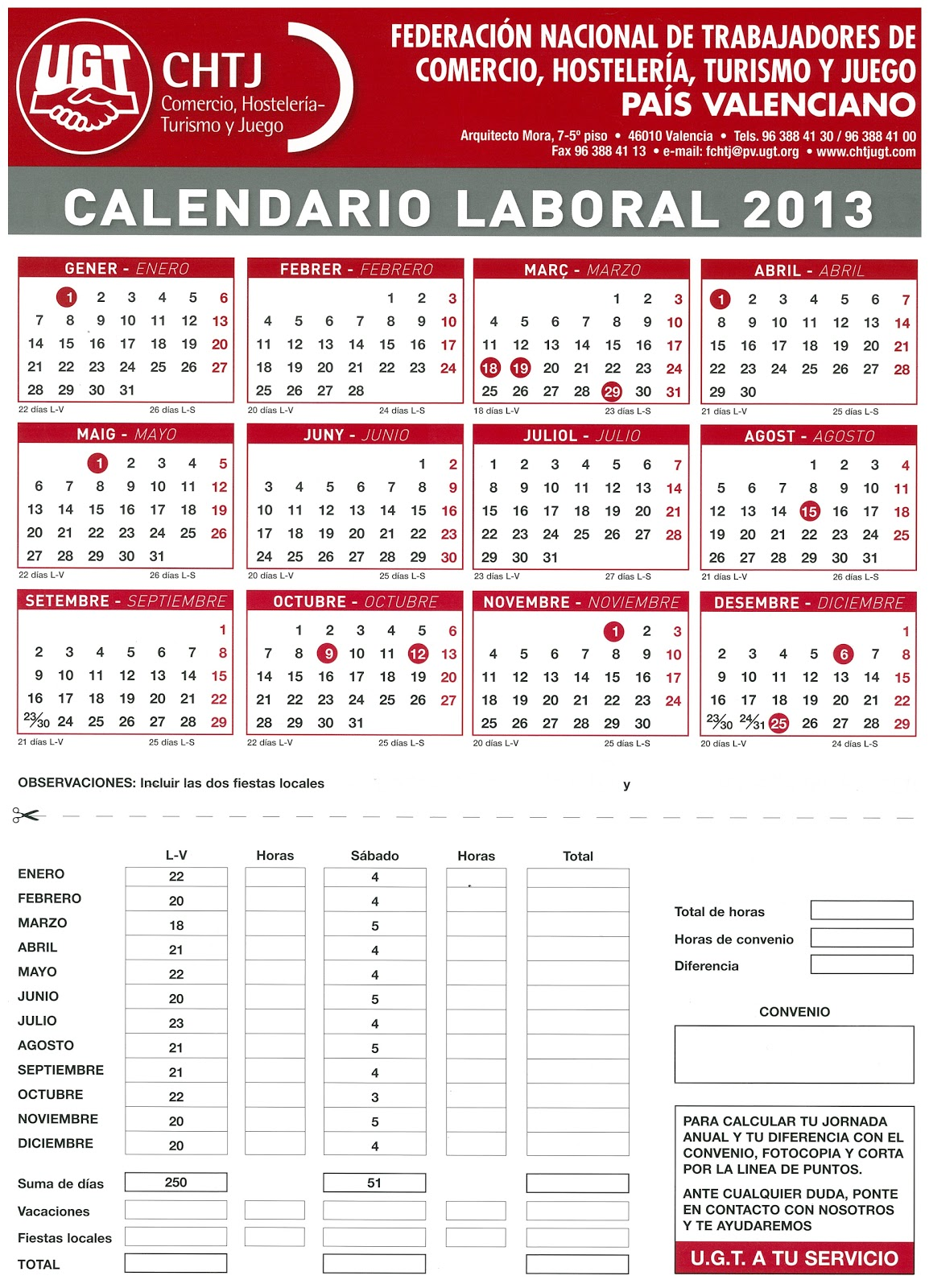COMITÉ DE EMPRESA LIDL-UGT PROVINCIA DE ALICANTE: Calendario Laboral ...