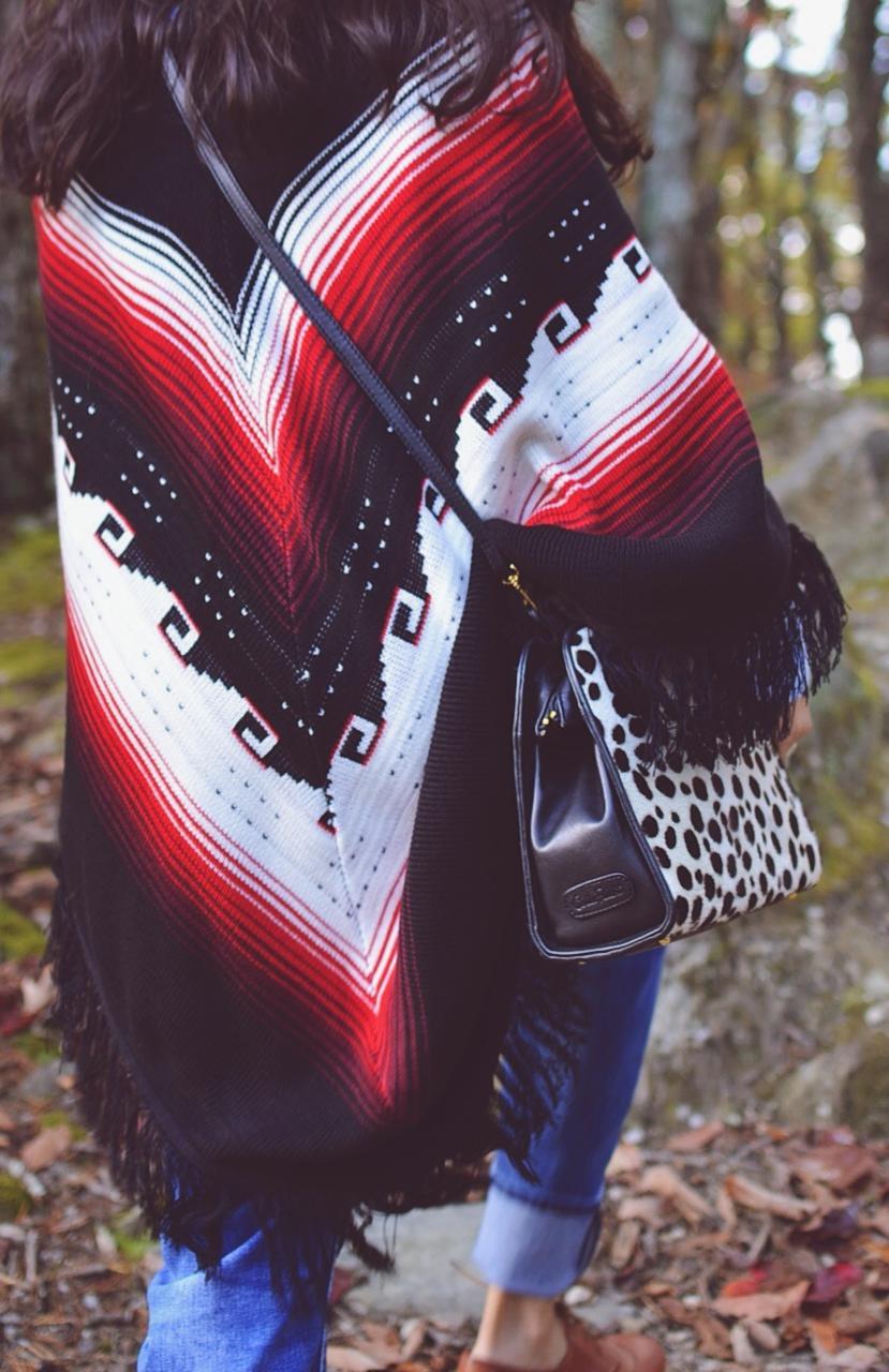 Southwestern printed poncho