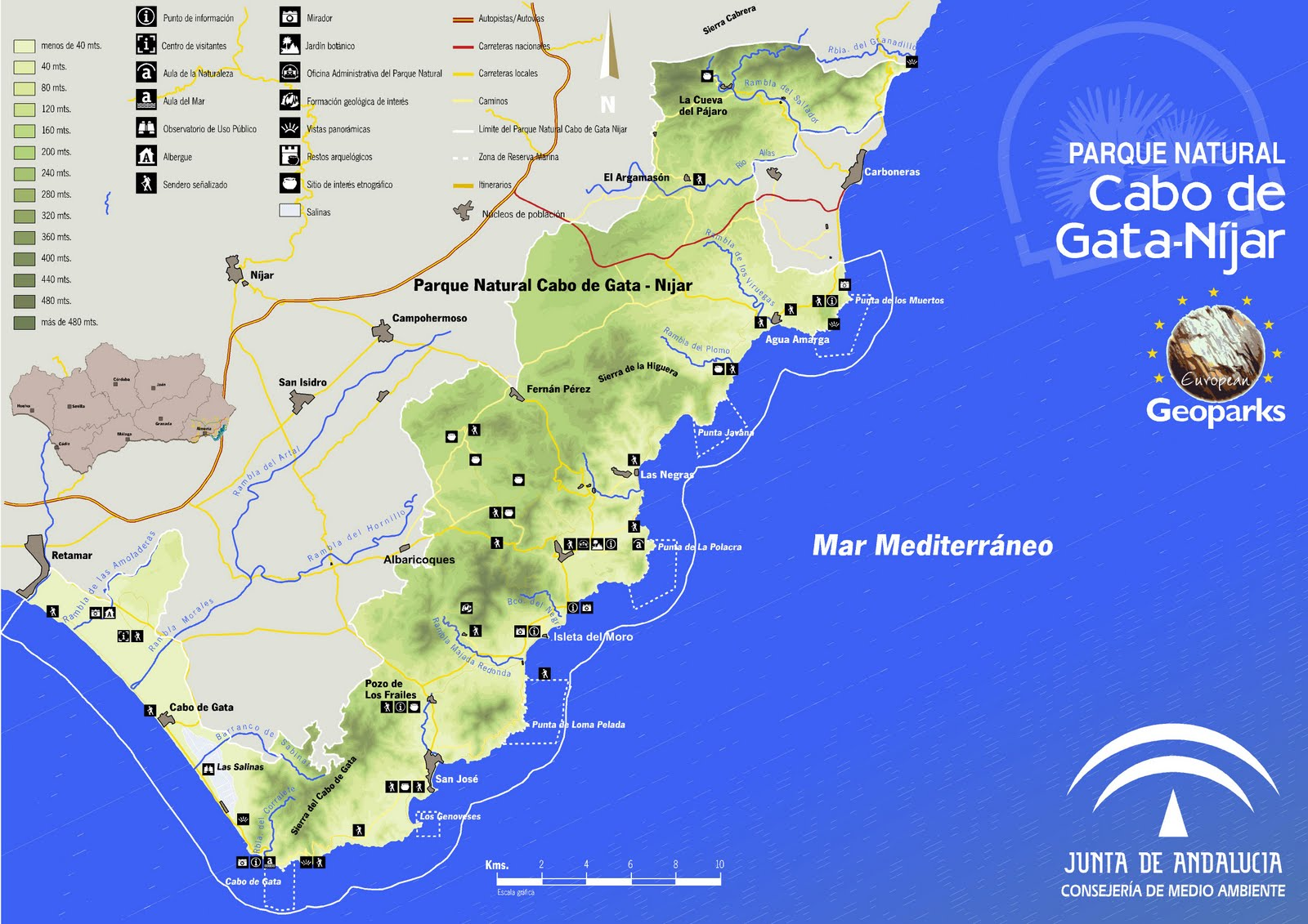 Parque natural cabo de gata n jar almer a mapa principal cabo de gata - Parque natural cabo de gata nijar ...